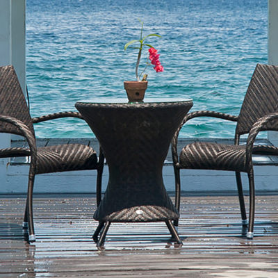 Alexander Rose Ocean Wave Bistro Table with Glass