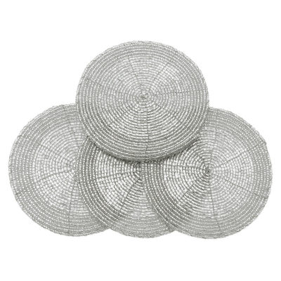 circular-beaded-coaster-set-of-4-silver-walton-and-co