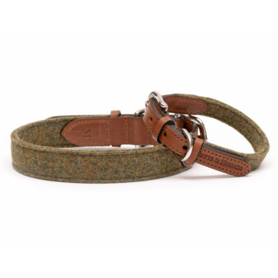 mutts-and-hounds-Collar-Forest-Green-Tweed