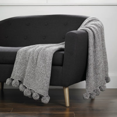 Cosy-Knit-Pom-Pom-Throw-Grey-walton-and-co