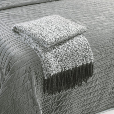 Mohair-Herringbone-Throw-Grey-walton-and-co