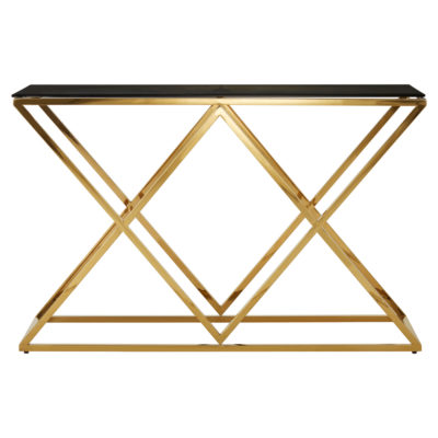 Oku Gold Finish Console Table latzio