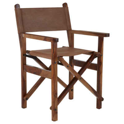 Kisale brown Leather wood Chair Latzio