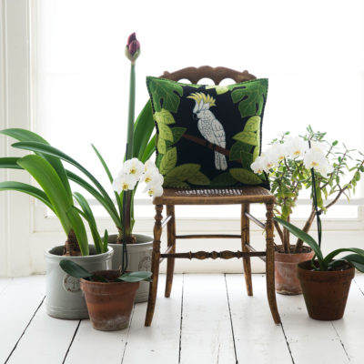 Tropical-Cockatoo-Cushion-Black-jan-constantine