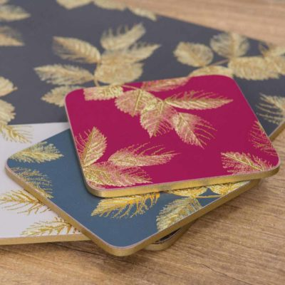 NAVY-ETCHED-LEAVES-COASTERS-SET/6-sara-miller