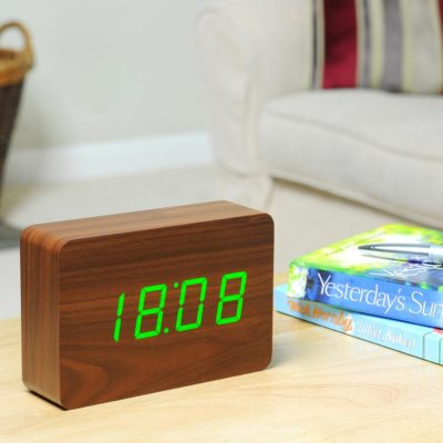 Walnut Digital Clock, Brick click clock, Gingko