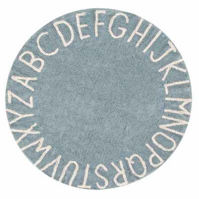 blue washable cotton, ABC round rug, Lorena Canals
