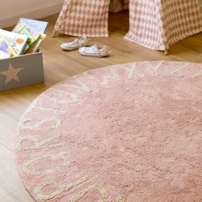 washable cotton ABC pink round rug, Lorena Canals