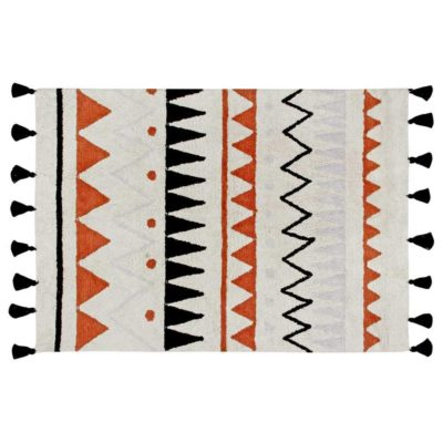 washable cotton terracotta rug Azteca, Lorena Canals