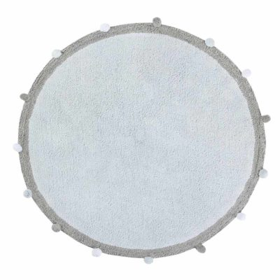 Blue round washable cotton rug, BUBBLY, Lorena Canals