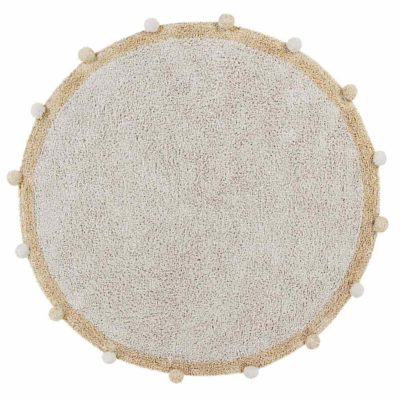 round washable beige cotton rug, BUBBLY Honey, Lorena Canals