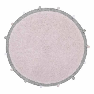 Pink round washable cotton rug, BUBBLY, Lorena Canals
