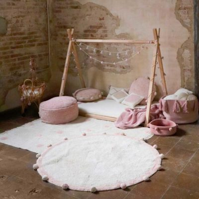 round washable pink cotton rug, BUBBLY nude, Lorena Canals