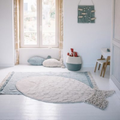 beige washable cotton, big fish rug, Lorena Canals