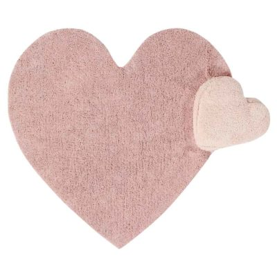 washable cotton pink heart rug, Lorena Canals