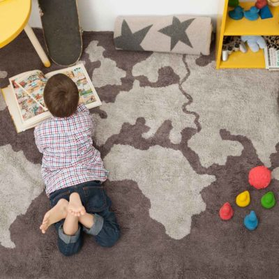 washable cotton world map rug, Lorena Canals