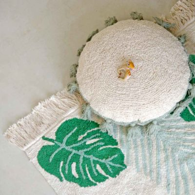 washable cotton Tropical green rug, Lorena Canals