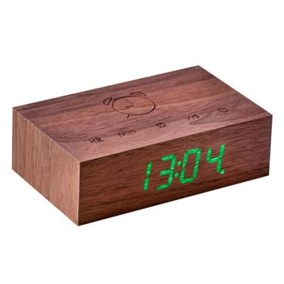 Walnut Digital Clock, Flip Click, Gingko