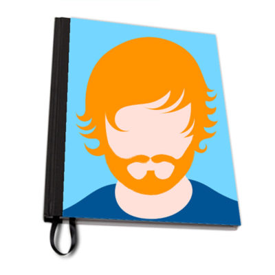 Ginger Ed blue fabric notebook artwow