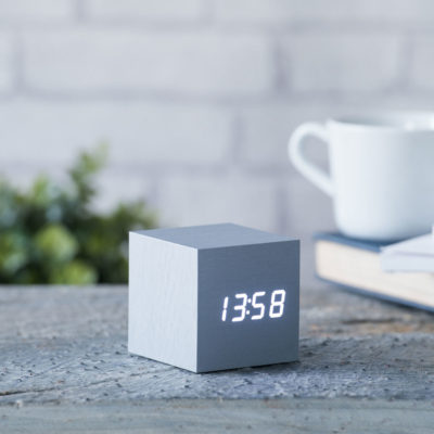 Aluminium Cube Digital Clock Gingko, Click Clock