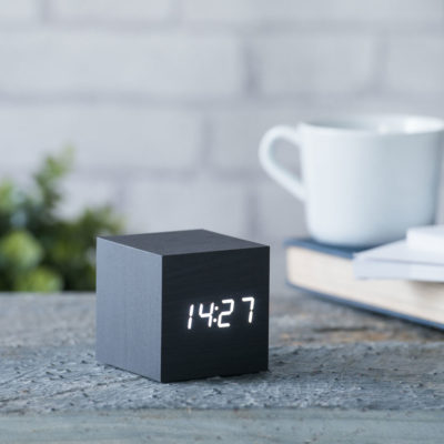 Black Cube Digital Clock Gingko, Click Clock
