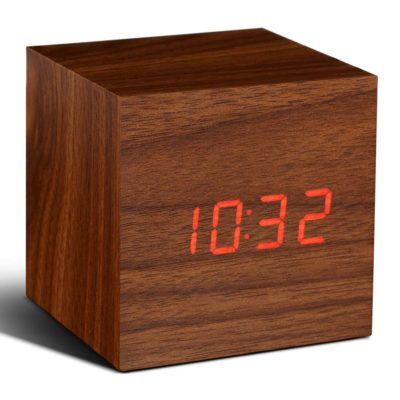 Walnut Cube Digital Clock Gingko, Cube Click Clock