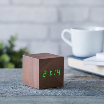 Walnut Digital Clock Gingko, Cube Click Clock