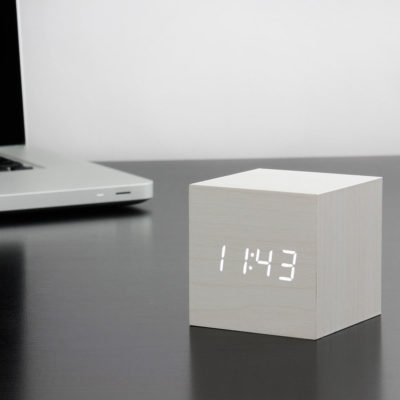 White Cube Digital Clock Gingko, Click Clock