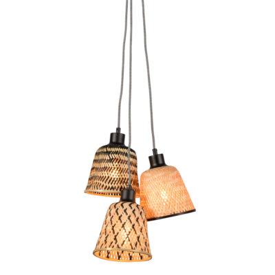 Black and Natural 3 shades Bamboo Hanging lamp, Kalimantan, Good and Mojo