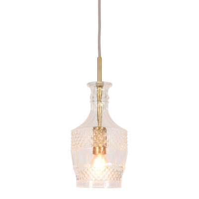 transparent/gold straight glass Hanging lamp, Brussels, it's about Romi