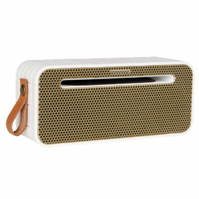 white bluetooth speaker, aMOVE kreafunk