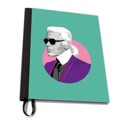 Karl Lagerfeld Green notebook fabric artwow