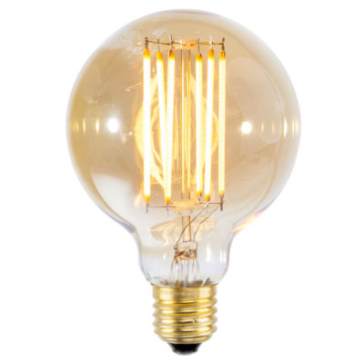 LED bulb filament/E27 dimmable, diameter 9.5cm