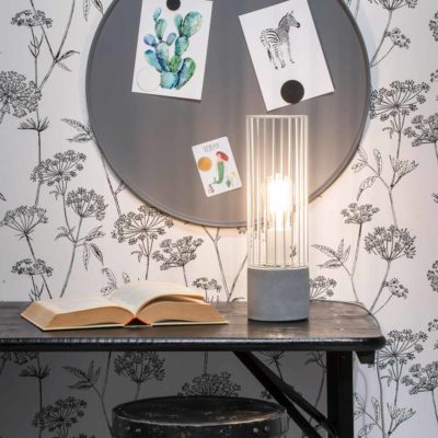 white iron thread and cement table lamp, Memphis, it's about Romi
