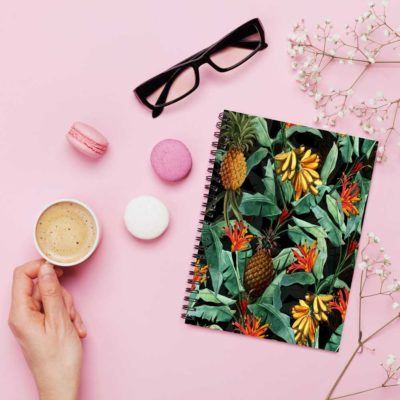 Vintage Tropical Night Jungle notebook spiral Artwow