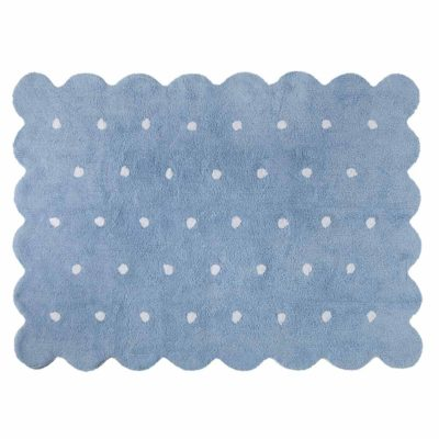 blue washable cotton biscuit rug, Lorena Canals