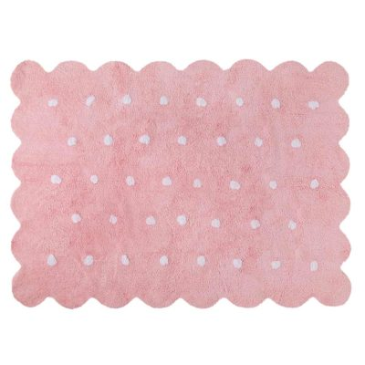 pink washable cotton biscuit rug, Lorena Canals