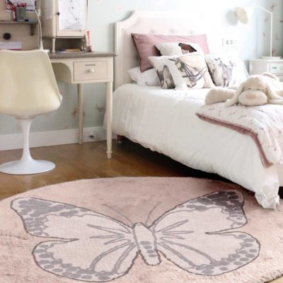pink butterfly, washable cotton round rug, Lorena Canals