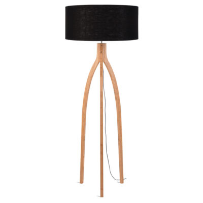 Black linen Bamboo Floor lamp, Annapurna, Good and Mojo