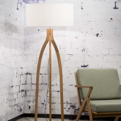 White linen Bamboo Floor lamp, Annapurna, Good and Mojo