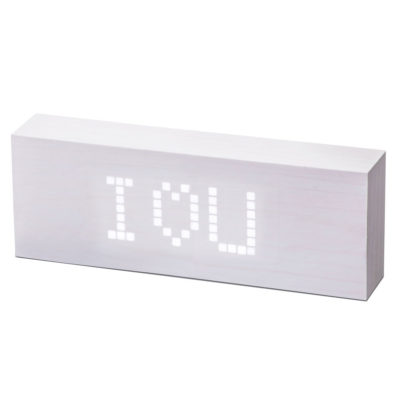 white digital clock, message click clock, Gingko