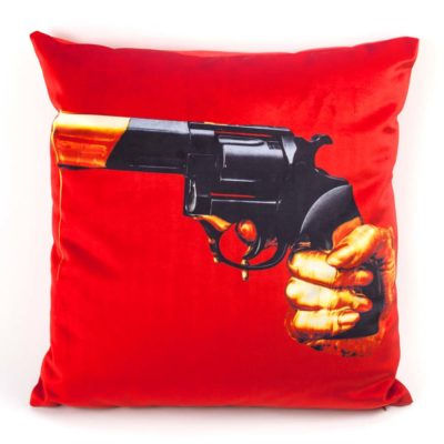 revolver red cushion Seletti