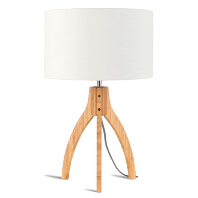White linen bamboo Table lamp, Annapurna, Good and Mojo
