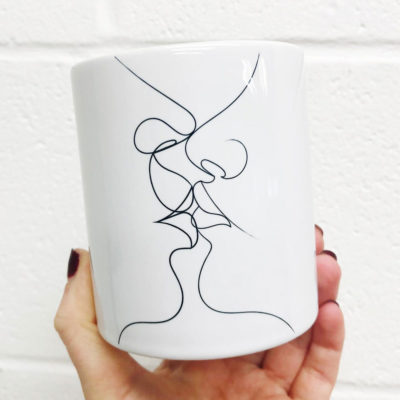 White Tender Kiss mug artwow