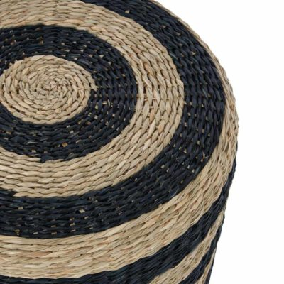 Natural and Black Seagrass Pouffe, Latzio