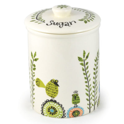 ceramic Birdlife sugar storage jar by Hannah Turner