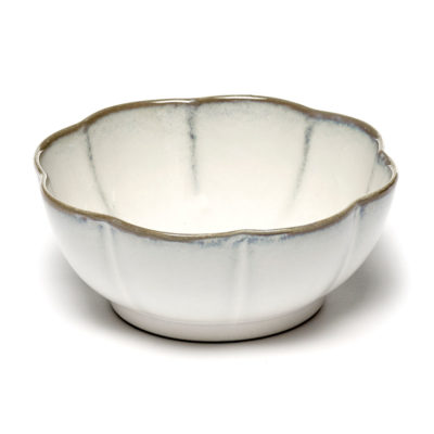 stoneware white ribbed bowl Ø5, Inku by Serax