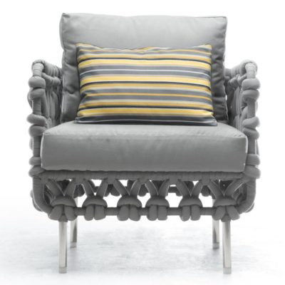 Grey Easy Armchair, Cabaret by Kenneth Cobonpue