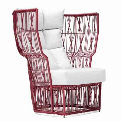 Red Easy Armchair highback, Calyx by Kenneth Cobonpue