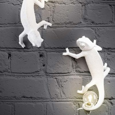 White Chameleon Lamp going up, Seletti